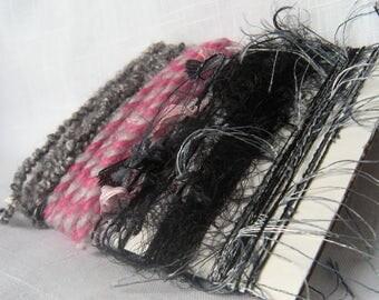 Art Yarn Bundle Pink Gray Black Scraps Fiber Art Supplies 1492
