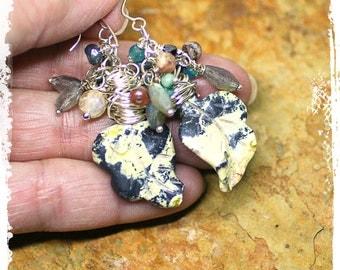 Wire Wrapped Agate Gemstone Earrings, Rustic Bohemian Leaf Earrings for Women, Boho Cluster Earrings, Gypsy Dangle Earrings for Her,