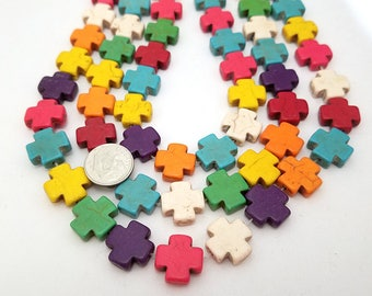 25 Mixed Color Howlite Cross Beads 15MM (H7083)