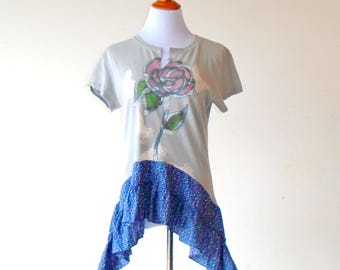L-XL ~ Bleached Art Butterflies & Roses T Shirt ~ gypsy lagenlook handmade upcycled boho chic hippie wearable art
