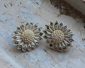 FREE SHIPPING Vintage Celluloid Rhinestone Flower Floral Clip Earrings