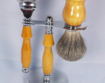 Handcrafted Shaving Set designed for Fusion/M3/Safety Razor with Stand using Osage Orange wood