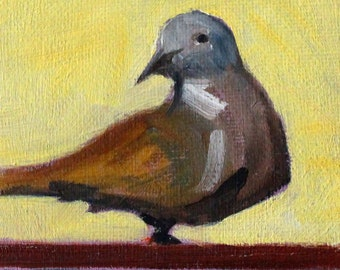 Little Dove, Small Oil Painting, 4x4 Canvas, Original Wild Bird Art, Brown Gray Black Feathers, Portrait, Gold, Miniature Wall Decor, Art