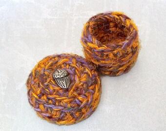 Little Handmade Ring Box - Fall Acorn Trinket Holder - Mini Silk Tapestry Basket with Embellished Lid - End of Summer Autumn Keepsake Gift