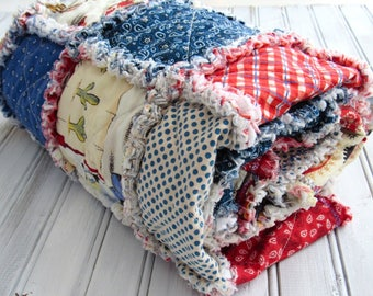 Baby Rag Quilt, Baby Playmat, Baby Quilt, Cowboy Quilt, Red and Blue Quilt