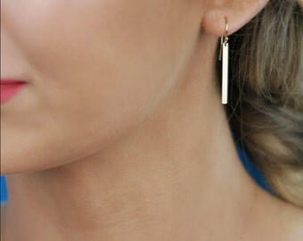 Gold Bar Earrings  - 14K Solid Yellow Gold Dangle Earrings, Stick Earrings, Smooth or Hammered