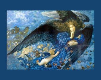 PR-089 Artistic Ephemera Print ~ One 8x10 or Two 5x7s ~ Edward Robert Hughes ~ Night with Her Train of Stars