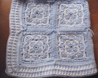 Hand Crocheted Blue and White Granny Square Baby Afghan Blanket