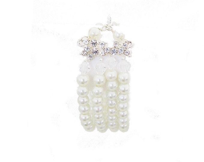 Pearl Crystal Wedding Bracelet