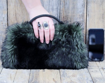 Faux Fur Handbag, Vegan Handbag, Fake Fur Handbag, Vegan Purse, Green Handbag, Green Purse, Vegan Clutch, Luxury Bag, Vegan Clutch Bag