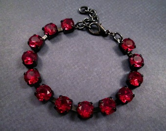 Garnet Rhinestone Bracelet, Red Glass Rhinestone and Gunmetal Silver Beaded Bracelet, FREE Shipping U.S.