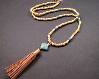 Suede Tassel Necklace, Turquoise Pendant Necklace, Wood and Stone Beaded Necklace, FREE Shipping U.S.