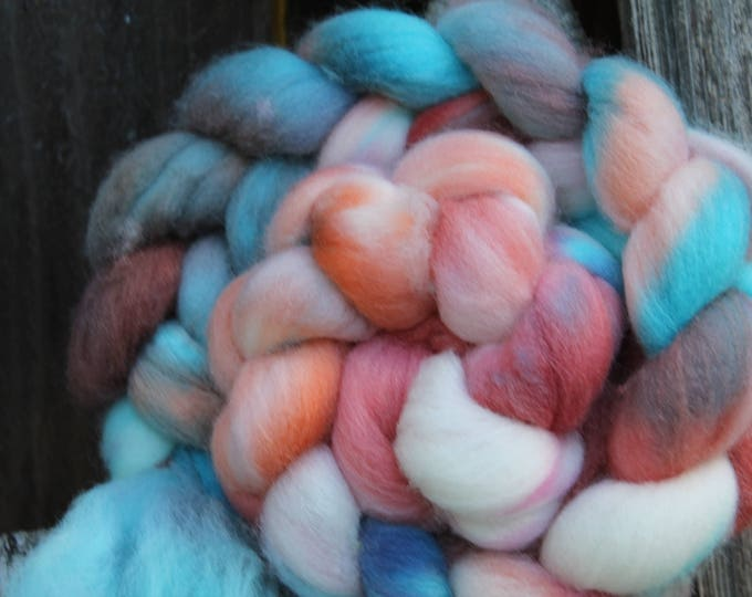 Kettle Dyed Falkland Wool Top.  Soft and easy to spin. 4oz  Braid. Spin. Felt. Roving. F158