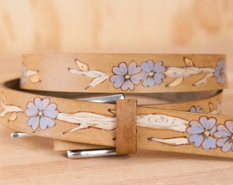 Leather Belt - Handmade Womens Skinny Belt with Flowers - Winter pattern in white, purple-blue and antique brown - Belt for Dresses