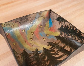 Valet Tray - Catch-All Leather Tray - Handmade in the Stars Pattern with Trees and Northern Lights - Third Anniversary Gift