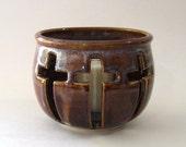 Candle Holder - 3 Crosses with votive  - Coffee Latte Darker Version Glaze