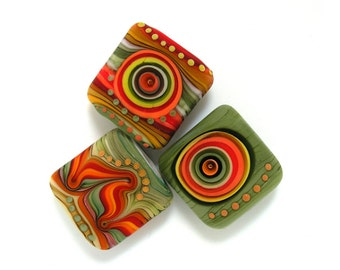 Michal S- Glass Art Lampwork square bead set (3) ready to ship