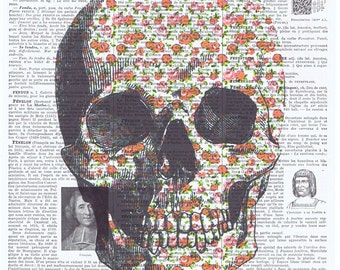 Sugar Skull.Roses.Birthday.Gift,French.Antique Book Page Print,buy 3 get 1 free.deco.steampunk.goth.day of dead.paris.dia de los meurtos.art