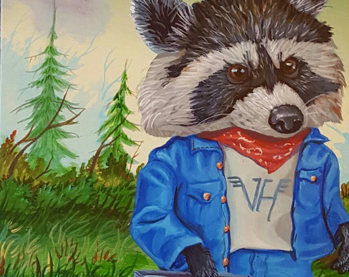 Music Loving Raccoon - Original painting by Mr Hooper of Nashville Tennessee