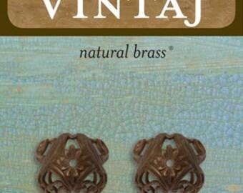 2 Love Birds Bead Caps 15x11mm Vintaj Natural Brass (BC0006)
