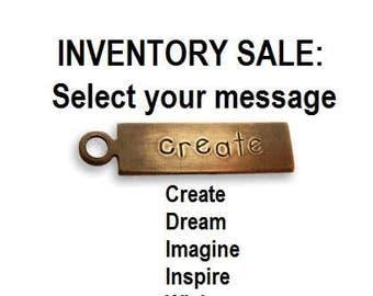 SALE: Vintaj Natural Brass Rustic Rectangle Message Charms (Select message)  Limited quantities left