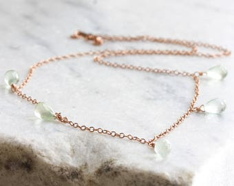Rose gold necklace - prehnite necklace - prehnite briolettes on rose gold chain - rose gold jewelry - prehnite jewelry - gemstone necklace