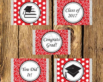 Printable Red and White Graduation Mini Candy Bar Wrappers - Instant Download