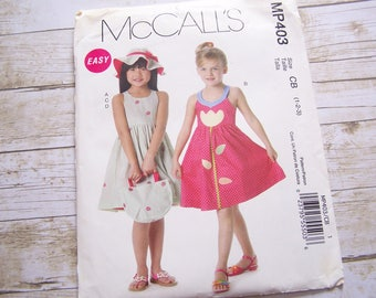 McCalls MP403 girl toddlers dress sewing pattern with hat tote bag sundress pattern size 1-2-3 uncut