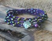 Bracelet Wrap, Boho Bracelet, Purple Bracelet, Stacking Bracelet, Crocheted Bracelet, Crocheted Bracelet Wrap, Purple and Green Bracelet