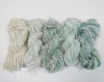 Seafoam Handspun Art Yarn Pack 5 mini skeins light green aqua cream