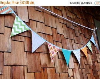 FLASH SALE 40 Percent Off Fabric Flag Bunting, Ready to Ship Prop, Banner. Boy's Surprise Blue, Orange, Gray Designer's Choice Banner. Large