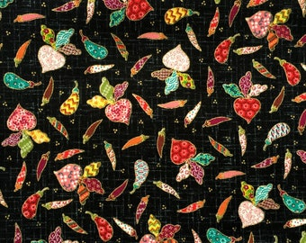 Japanese Fabric - Cotton Fabric -  1 Yard -  Black Fabric - Vegetables  Fabric - 110 cm x 100 cm (F164-P17)