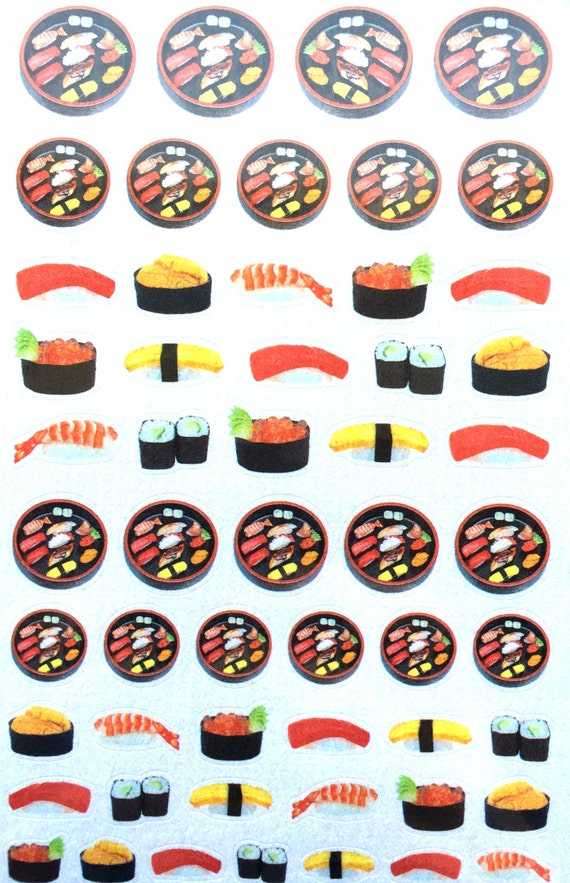 Sushi Stickers - Japanese Stickers -  Chiyogami Stickers -  Japanese Food Stickers S294