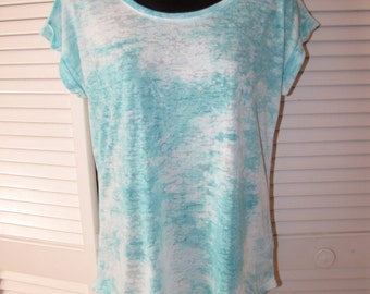 Backless aqua blue shredded tie dye cloud t shirt size Extra Large L XL