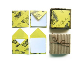 Yellow Butterflies Cute Mini Stationery Set, White Folded Blank Note Cards, Small Yellow Square Envelopes, Natural History, Greeting Cards