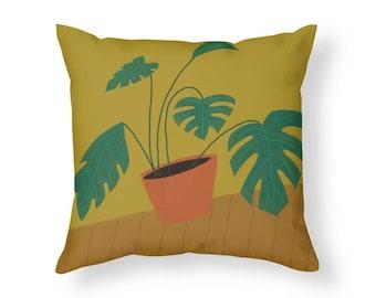 Mid Century Modern Split Leaf Philodendron Plant Throw Pillow