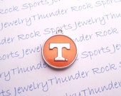 3 TENNESSEE VOLUNTEERS Charms round Antique Silver Plated with orange enamel University logo College Pendants