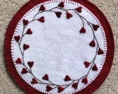 Wool Felt Candle Mat Penny Rug with Hearts and Vines