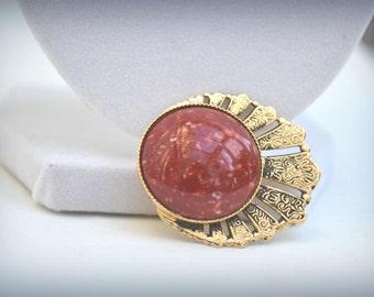 Gold Brooch, Red Brooch, Acrylic Brooch, Vintage Brooch, Vintage Pin, Red Speckled Brooch, Retro Brooch, Goldtone Brooch