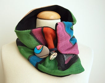 Hand painted Silk & Wool Neck Warmer-28x7 in.Ideas for her.Scarf neck warmer.Handpainted