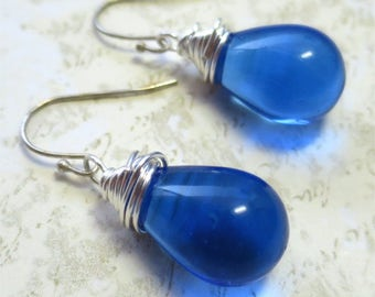 Sapphire blue earrings clear czech glass beads with silver wire wrapping
