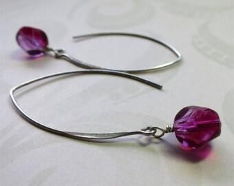 Fuschia pink beaded earrings faceted czech glass beads on long sterling silver earwires