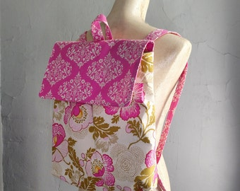 Cute Tween Teen Pink Floral Feeding Tube Backpack - Custom Fabric Choices - DEEP Front Pocket for Quick Pump Access