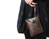 """Brown leather pouch, handheld leather pouch with black star, Brown and black purse, brown varnished leather purse, MALAM, 9x7"""" - 22x17"""