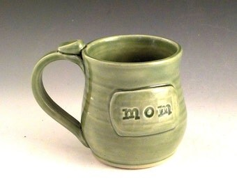 Ceramic Mug for MOM - Stoneware Coffee or Tea Cup - Gift for Mother - Birthday Gift - Celadon Green - Handmade Pottery - Ready to Ship m288