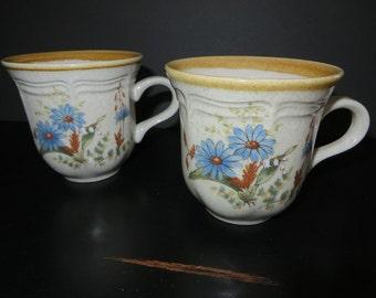Mikasa Blue Daisies Vintage stoneware mugs pair 1970s retired pattern