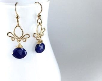 Adamaris - Small Lapis Lazuli dangly earrings Indigo blue dangles