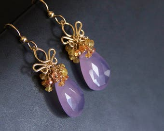 Julieta - Lavender Chalcedony Sapphires and 14K Gold Filled One Of A Kind Earrings