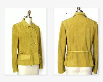 Suede Jacket/ 1970s Gold Suede Jacket/ Belted w Faux Leather Trim