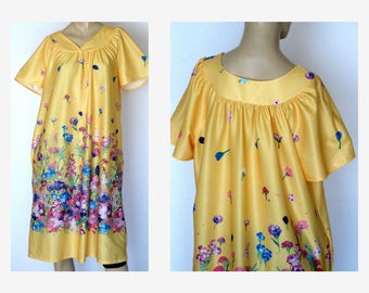 70s Sunny Yellow House Dress Flutter Sleeve Dress Airy Polyester Dress for Spring  Size: M